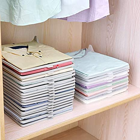 sjaiwq Home Clothes Folding Board Foldable Bookshelf Storage Organizer Stackable T-Shirt Clothing Tools Home Decorations,A