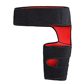 Giision Groin Support,Adjustable Neoprene Groin Strain Pain Wrap Compression Recovery for Groin Hip Thigh Quad Hamstring Joints Sciatica Nerve Pain Relief Strap