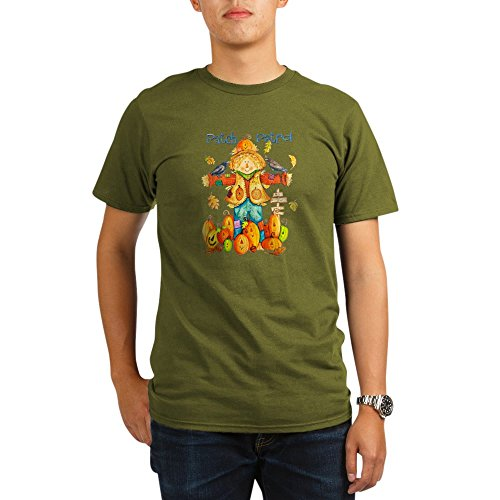 Royal Lion Organic Men's T-Shirt Dark Halloween Scarecrow Pumpkins Crows - Olive, Small ()