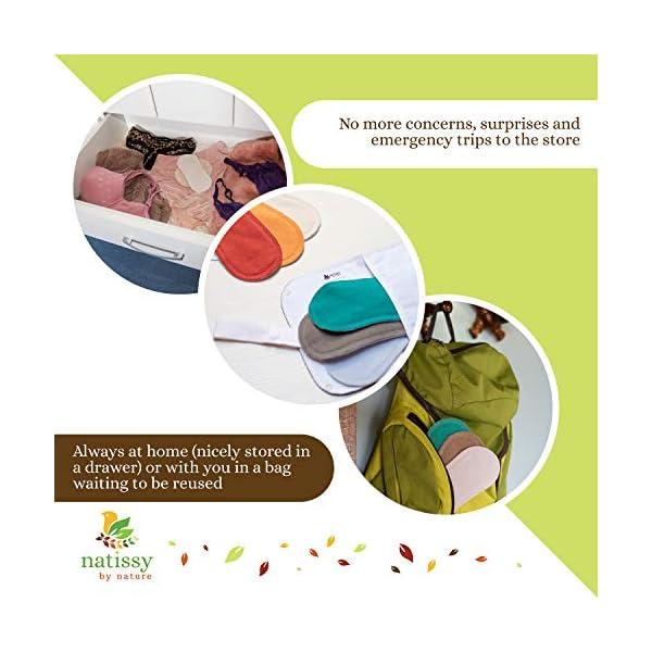 Assorbenti lavabili mestruale di cotone, in pacchetto da 6 pezzi (di taglia S e M), PRODOTTI IN EU; assorbenti igienici… 7 spesavip