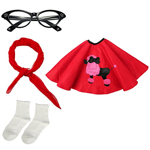 Girls 1950s Costume Accessory Set - Poodle Skirt, Chiffon Scarf, Cat Eye Glasses,Bobby Socks (Red)