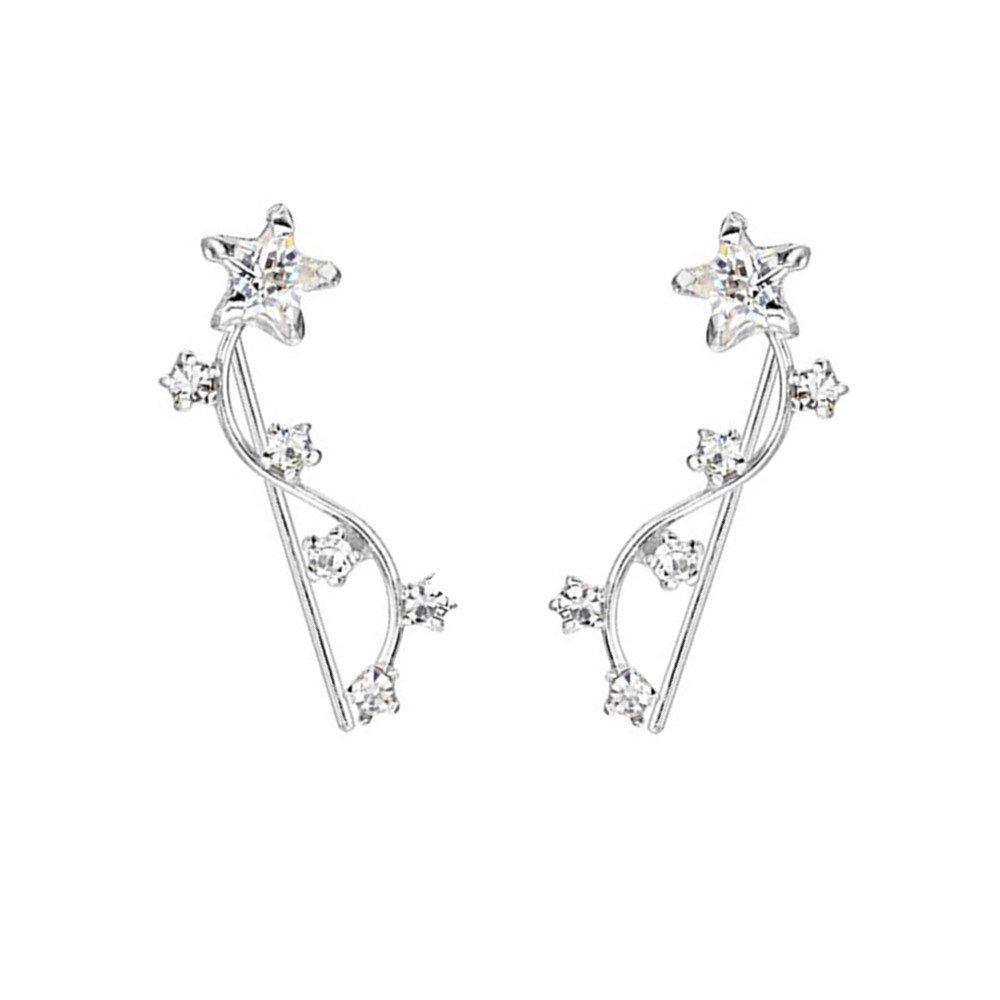 Kingforce Ear Cuff Earrings Sterling Silver Cubic Zirconia Star Ear Crawler Earrings Ear Climber Earrings Ear Jacket Earrings for Women