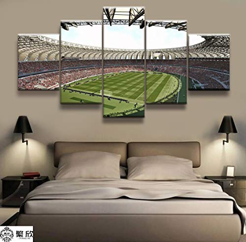 SYJL 5 Panel World-Class Football Motion Field Poster Printed Painting Picture for Living Room Wall Art Decor Picture Artworks Poster (with Frame)
