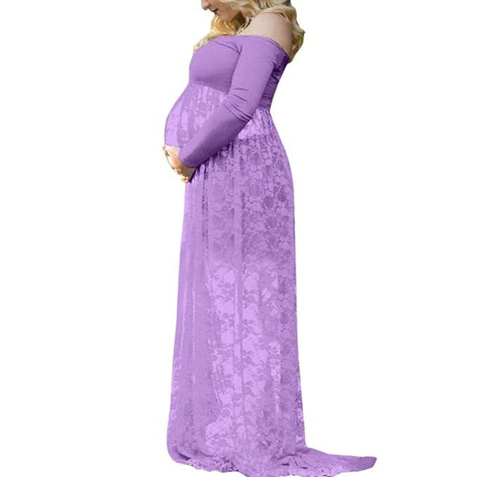ShiTou Pregnant Dress, Large Size Pregnant Women Strapless Lace Care Dress (Purple, s
