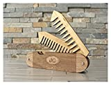 Walnut Wood and Bamboo Beard and Mustache Folding Comb, Pocket Knife Style