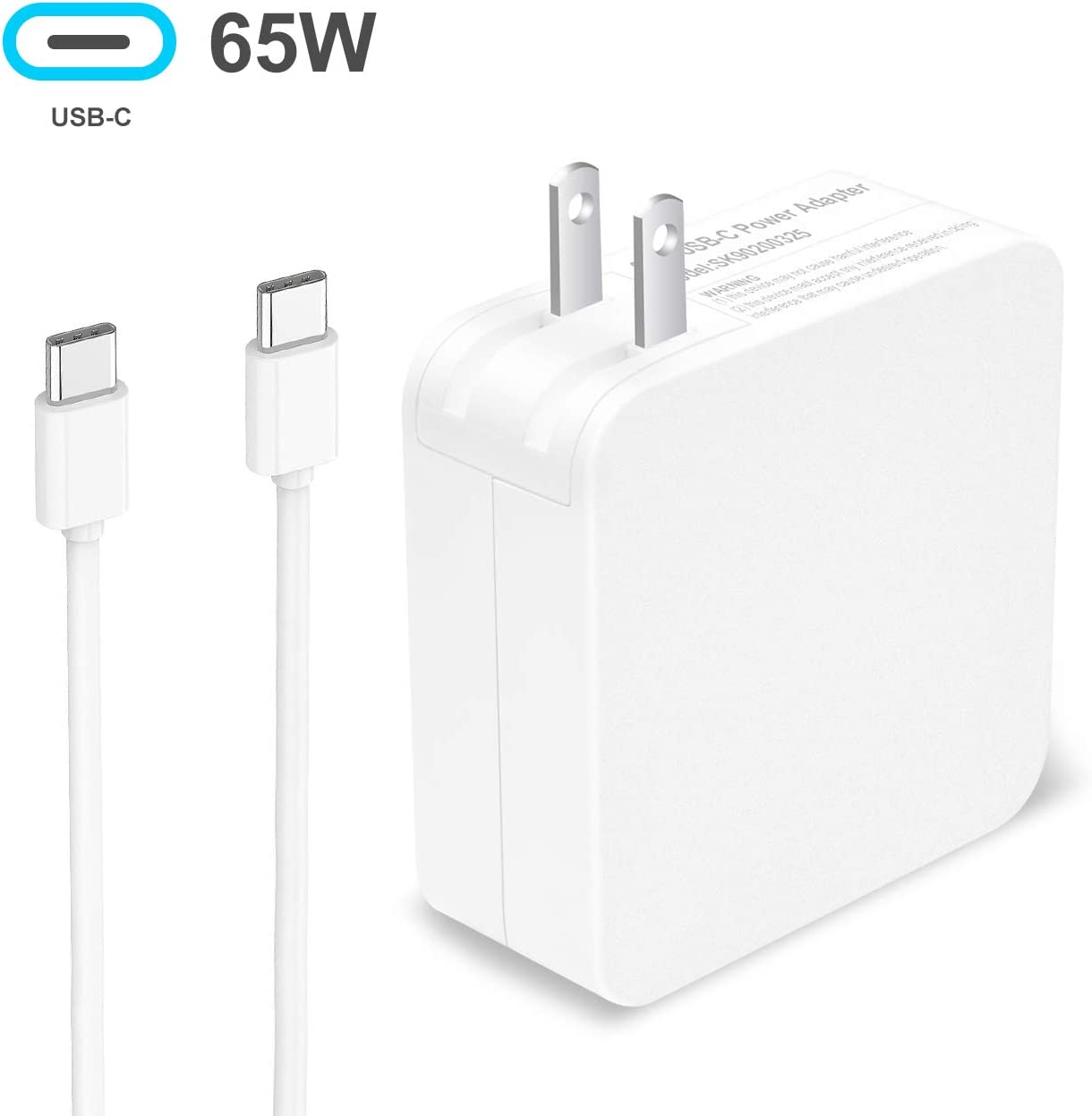 65W USB Type-C AC Adapter Charger for ASUS chromebook 13 ZenBook 3 UX390 MacBook/Pro HP Acer Huawei, Dell XPS 12 13,Lenovo Yoga 910,Yoga 720-13,Thinkpad x1Tablet USB-C C Cable Power Supply Cord