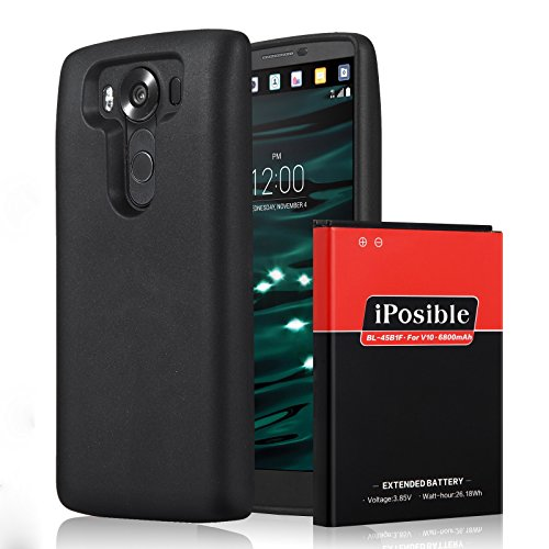 LG V10 Extended Battery|[6800mAh] iPosible More Than 2X Li-Ion Replacement Battery for LG V10 Power Pack with Black TPU Cover Case