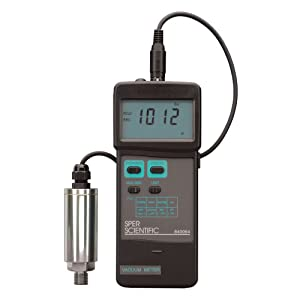 Sper Scientific 840064 Portable Digital Vacuum Meter with 3 ft Cable and Transducer