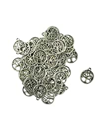 MonkeyJack 100Pcs Silver Vintage Charm Living Tree of Life Jewelry Pendant Findings for Necklace Bracelet Earrings