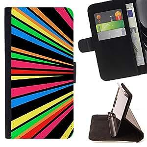 Dragon Case- Mappen-Kasten-Prima caja de la PU billetera de cuero con ranuras para tarjetas, efectivo Compartimiento desmontable y correa para la mu?eca FOR Samsung Galaxy S6 G9200- Colorfull space