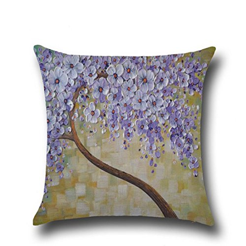 "Hoomall 3D Oil Painting Sofa Throw Pillow Case Cushion Covers Decorative Life Tree Flowers with Zipper 18""x18"" Purple"