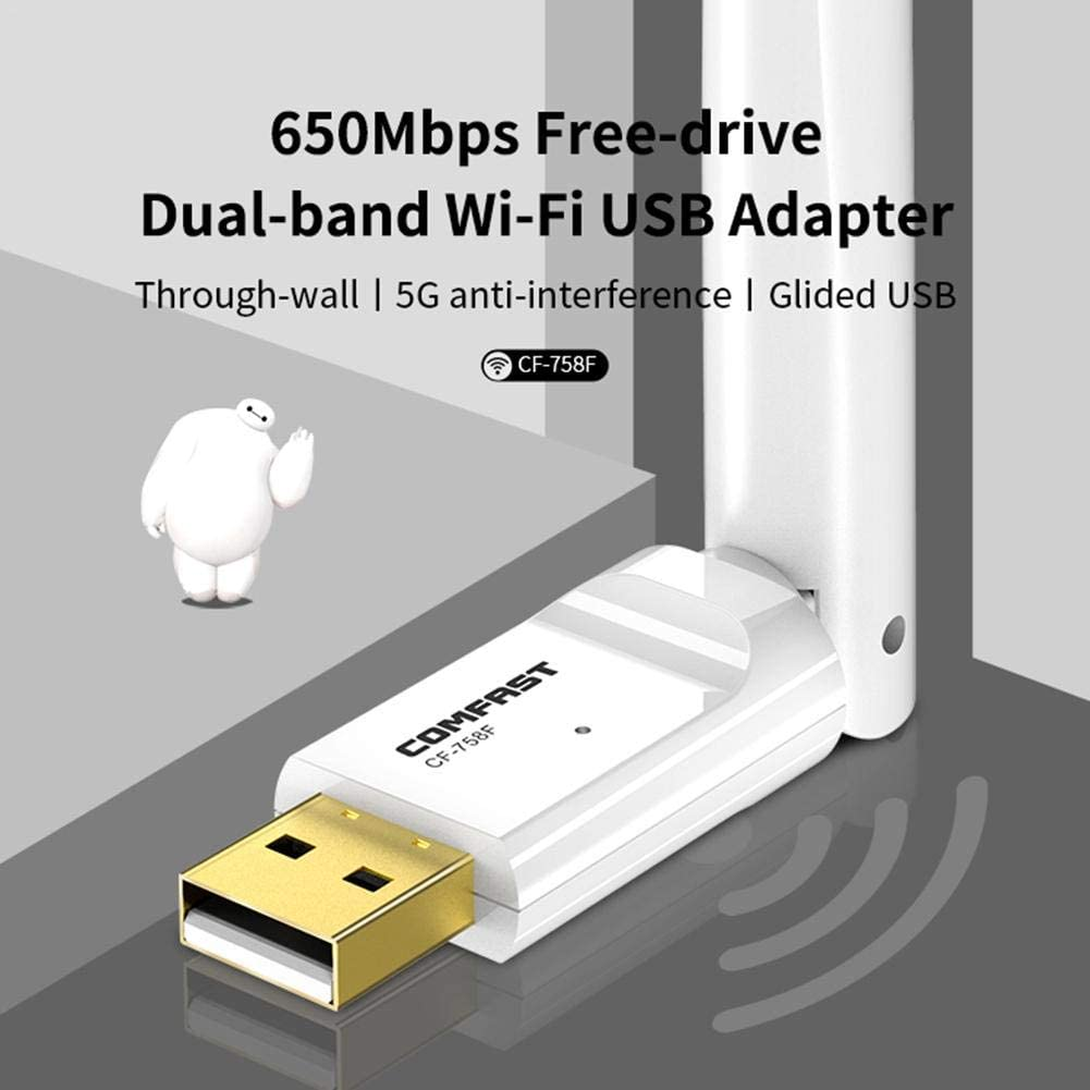 8.1//10 Support WindowsXP MacOS 10.6-10.15 keruite 650Mbps USB Wireless Router Dual-Band Through Wall Free Drive Wireless Network Card for Desktop//Laptop//PC 7//8