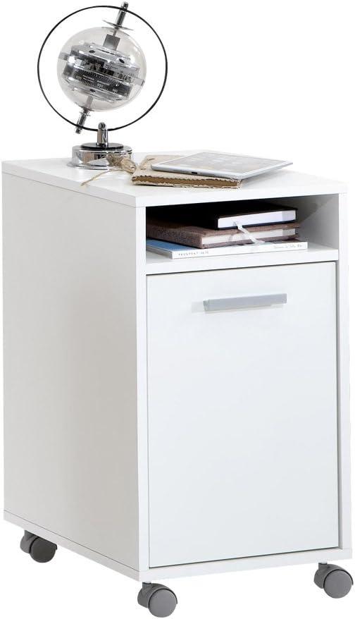FMD 359-002_we Laurenz 2 Caisson de Bureau avec 1 Porte + 1 Compartiment Ouvert sur Roulettes Panneaux Mélaminiques Blanc 38 x 33 x 59,5 cm