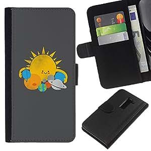Be-Star la tarjeta de Crédito Slots PU Funda de cuero Monedero caso cubierta de piel Para LG G2 D800 ( Sun Star System Planets Kids Drawing )