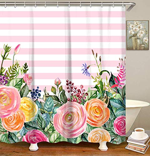 LIVILAN Pink and White Stripe Shower Curtain Set with 12 Hooks Fabric Bath Curtain Decorative Home Curtain, 70.8″ X 70.8″