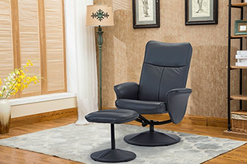 Modern Living Room Faux Leather Recliner Chair with Footstool , Reclining Swivel Office Chair, Gaming Chair (Charcoal Grey) (Footstool Room Living)