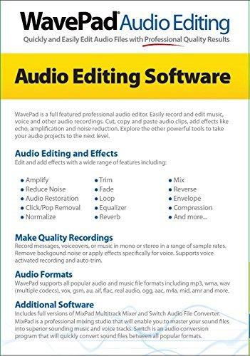 Wavepad(TM) 5 Audio Editor, For PC/Mac, Traditional Disc