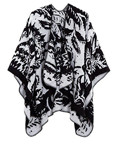 Women's Vintage Pattern Open Front Poncho Cape Shawl (Series 5-Black)