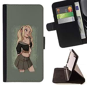 Momo Phone Case / Flip Funda de Cuero Case Cover - Sexy Girl écolière Jupe - LG G4