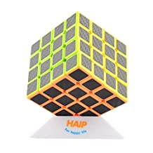 Magic Cube, Haip 4x4x4 Carbon Fiber Sticker Speed Cube Magic Cube Black (Base Holder/Bag Included)