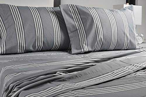 - Highland Collection Printed 300 Thread Count Cotton Rich sheet Set Twin Size, (Twin, Navy Stripe)