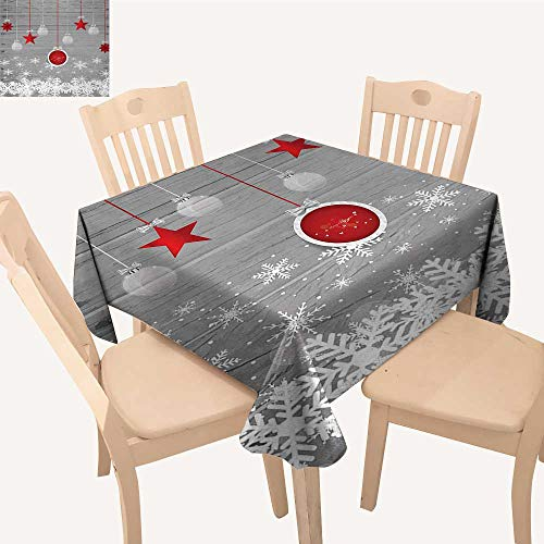 Christmas Printed Tablecloth Traditional Celebration Theme with Pendant Stars Baubles Ornate Snowflakes Square Tablecloth Grey Red White W 60
