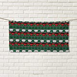 Chaneyhouse Skull,Hair Towel,Mexican Folkloric Art and Roses Knitted Seem Pattern Traditional Borders Print,Quick-Dry Towels,Green White Red Size: W 8'' x L 23.5''