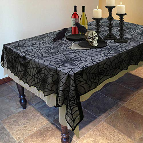 Halloween Tablecloth Black Lace Fabric for Rectangle Tables -Perfect for Halloween Party Table Decorations (60''84''-Spider Web)