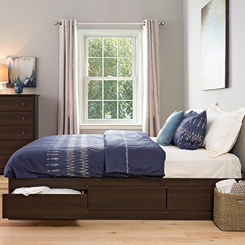 Prepac EBK-8400-K King Sonoma Platform Storage Bed with 6 Drawers, - Drawers Bed Pedestal