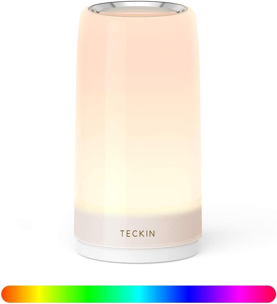 Lampara Mesilla de Noche,Luz Nocturna LED,Lámpara de Mesa,Control Tactil,Regulable,TECKIN Lámpara de Tabla de Decoración con Modo RGB y Luz Blanca Caliente,256 Luces de Color