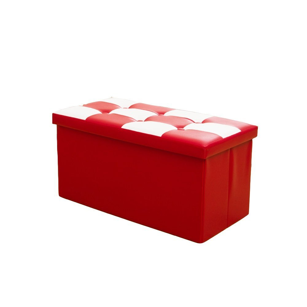 HOMEE Sofa Stool- Multi-Purpose Folding Storage Stool Change Shoe Stool Storage Stool Small Sofa Stool Red Stool (76 38 38Cm) --Storage Stool