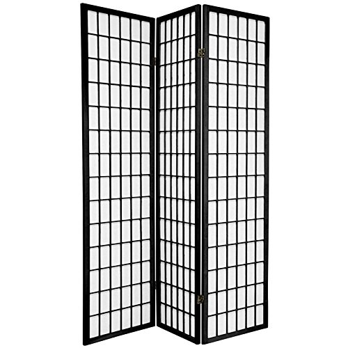 Oriental Furniture 6 ft. Tall Window Pane Shoji Screen - Black - 3 Panels