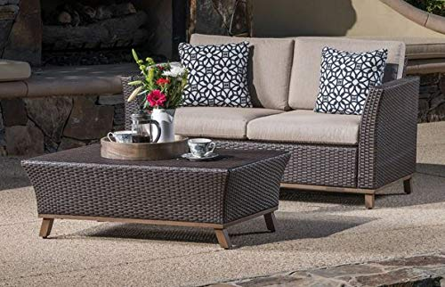 Luca Outdoor- Sunroom Furniture- Out Door Patio Furniture- Brown Wicker Two Piece Set Aluminum Framed - Great for Summer Barbecues, Garden Parties, and Afternoons Spent Lounging