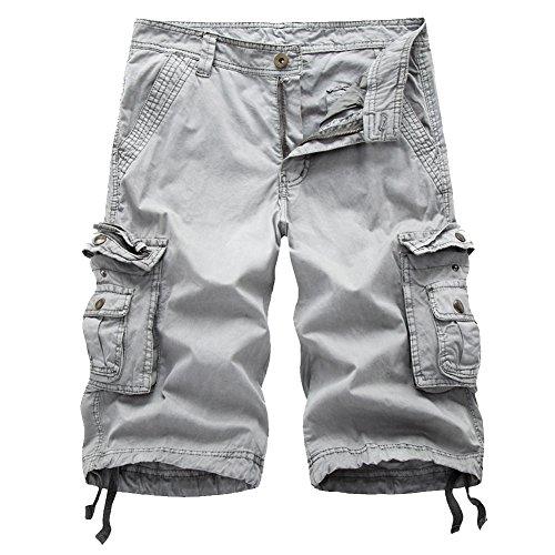 Okyae Summer Men's Cargo Shorts Loose Casual Multi-Pocket Classic Fit Short(34,Light Grey)