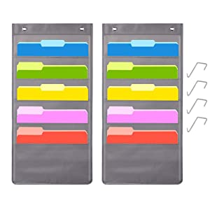 5 Pocket Hanging File Folder Organizer, Cascading Wall Organizer with 2 Hangers-Ideal for Home Organization,School Pocket Chart, Business folders and Paper Organizer (5 Pocket-2Pack) (grey-2pack)