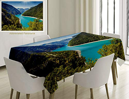 (Unique Custom Cotton and Linen Blend Tablecloth Mountain Lake House Decor The Piva Canyon with Its Reservoir Montenegro Balkans Sunlights Mountain RivTablecovers for Rectangle Tables, 78 x 54 inches)