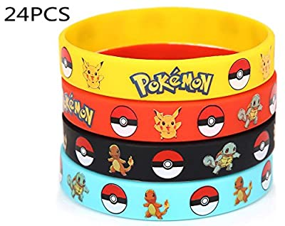 24 Count Pokemon Rubber Bracelet Wristband - Birthday Party Favors Supplies from 7urb0