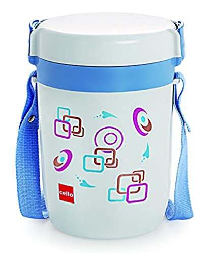 Cello Elite Leakproof Food Grade Microwave-Safe Plastic Lunch Box 3 Container With Strap Carry Case - Random