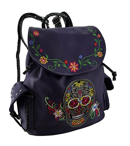 Embroidered Sugar Skull and Floral Trim Concealed Carry Motorcycle Backpack