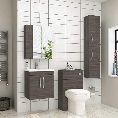 Grey Elm Bathroom Furniture Vanity Units (500mm WH Mid-Edge 2-Doors)