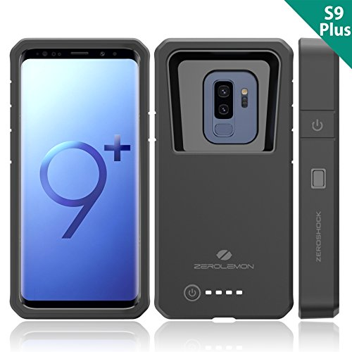 Galaxy S9 Plus Charging Battery Case, ZeroLemon ZeroShock 8000mAh Extended Battery with Full Edge Protection Rugged Charging Case for Samsung Galaxy S9 Plus - Black by ZEROLEMON