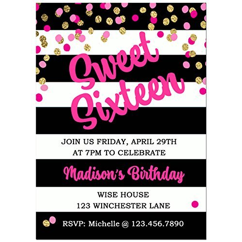 Black and White Stripe Sweet Sixteen Invitations with ANY Wording Printed or Printable - Girl's Birthday Invitation (Girl Birthday Printable)
