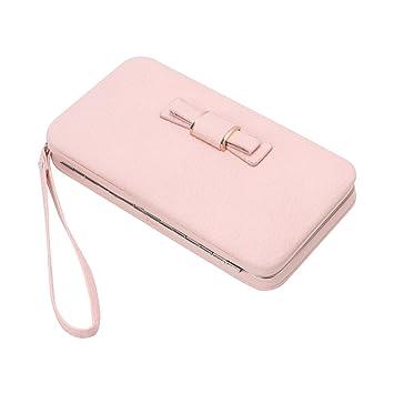 Gjyia Ladies Multi Feature Mobile Purse Bowknot Wallet Long Embrague Bolso Monedero Rosa Gris: Amazon.es: Hogar