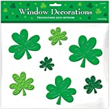 """St. Patrick's Day Shamrock Clings ‑ Silicone Window Decoration, Green, Pkg. Size 12"""" x 12"""""""