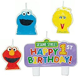 Sesame Street 1st Year Birthday Cake Candle Set Party Supplies