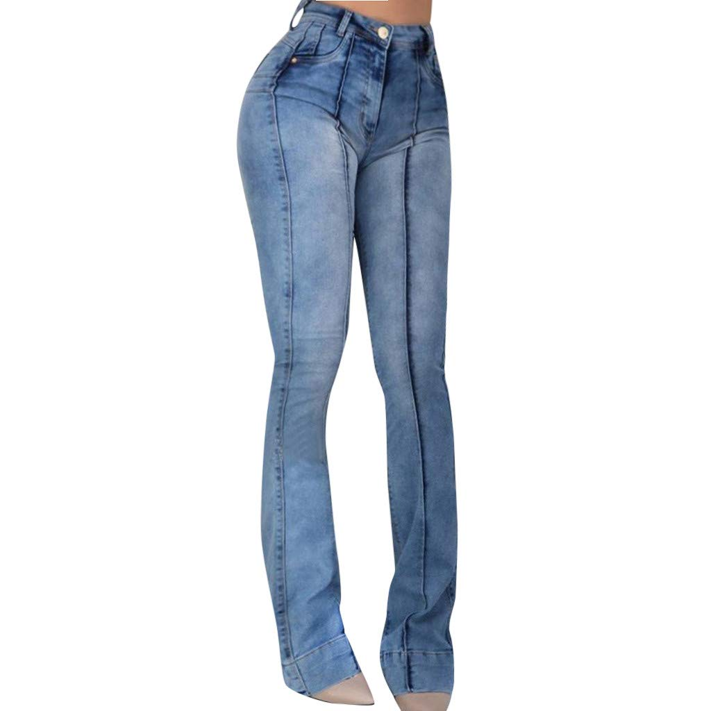 Pants For Women Jeans Plus Size Sagton Women's High Waist Pocket Wide Leg Jeans Flared Skinny Trousers For Valentine's Day present (Blue,S)