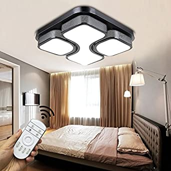 Schon Style Home 54W LED Deckenlampe Voll Dimmbar Mit Fernbedienung Schwarz Für Wohnzimmer  Schlafzimmer Küche Quadratisch 6908C
