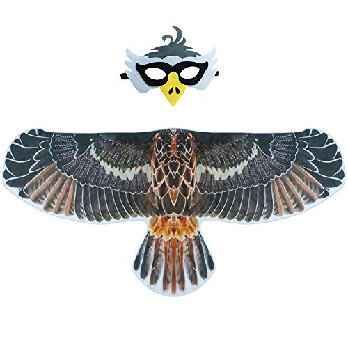 (Kids Bird Eagle-Wings Costume and Beak-Mask for Boys Girls Animal Feathered Dress Up Gray)