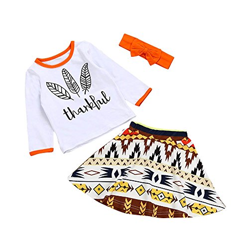 Birdfly Baby 3 Pcs Clothes Set Thanksgiving Design Thankful Feathers Top Native Indian Print Skirt Cute Bows Headband Newborn Toddler Casual Outfits (12M, (Free Spirit Check Dress)