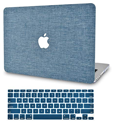 """KECC Laptop Case for MacBook Pro 13"""" (2020/2019/2018/2017/2016) w/Keyboard Cover Plastic Hard Shell A2159/A1989/A1706/A1708 Touch Bar 2 in 1 Bundle (Blue Fabric)"""